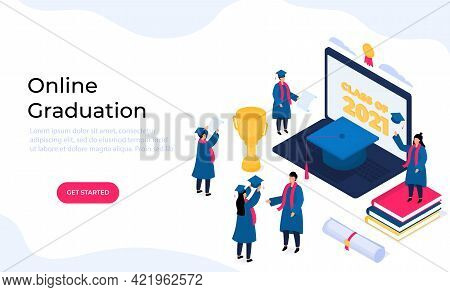 Virtual Online Graduation Ceremony. Tiny Isometric Graduates In Gowns And Mortarboards Celebrate Com