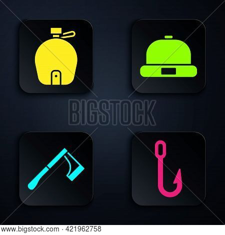 Set Fishing Hook, Canteen Water Bottle, Wooden Axe And Beanie Hat. Black Square Button. Vector
