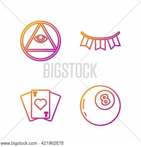 Set Line Magic Ball Of Predictions, Playing Cards, Masons And Carnival Garland With Flags. Gradient
