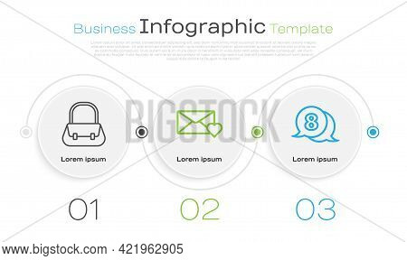 Set Line Handbag, Envelope With 8 March And 8 March In Speech Bubble. Business Infographic Template.