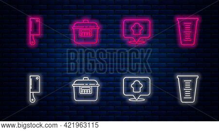 Set Line Slow Cooker, Chef Hat With Location, Meat Chopper And Measuring Cup. Glowing Neon Icon On B
