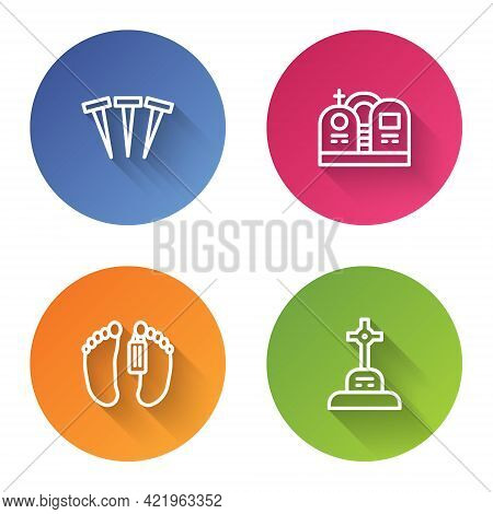 Set Line Metallic Nails, Grave With Tombstone, Dead Body And Cross. Color Circle Button. Vector