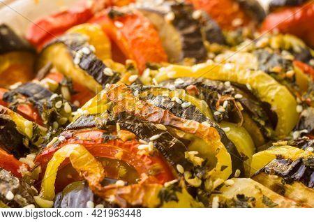 Ratatouille Diet Vegetarian Vegan Food - Oven Baked Provencal Traditional French Vegetable Dish, Mac