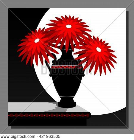 Stylized Still Life With Red Flowers In A Vase. Wall Decor, Poster Design. Vector Illustration.
