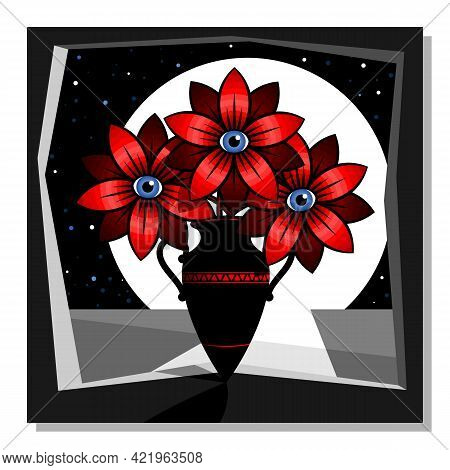 Stylized Still Life With Red Flowers In A Vase. Wall Art, Poster Design. Vector Illustration.