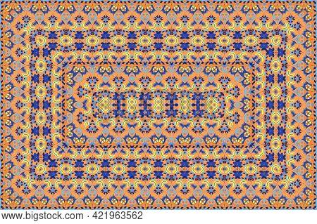 Vintage Arabic Pattern. Persian Colored Carpet. Rich Ornament For Fabric Design, Handmade, Interior