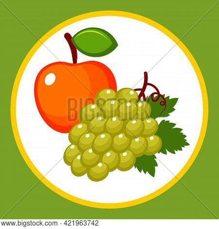 Drawn Stylized Apple And A Bunch Of Grapes With A Leaf. Vector Illustration.