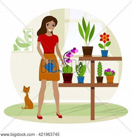 Young Woman Watering Potted Plant At Home. Vector Illustration.