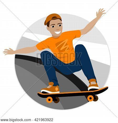 Smiling Skateboarder Riding A Skateboard On A Ramp. Vector Illustration.