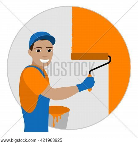 Smiling Worker Painter Painting The Wall With A Roller. Vector Illustration.