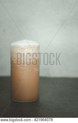 Mocha Smoothie In Glass. The Concept Of Relax Time