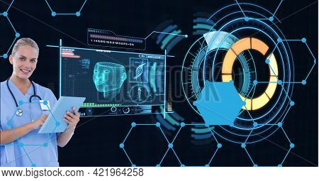 Composition of smiling female doctor using tablet with medical research data interface screen. global medicine, research and digital interface concept digitally generated image.