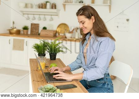 Attractive Businesswoman Studying Online, Using Laptop Software, Web Surfing Information Or Shopping