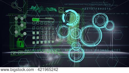 Composition of scope scanning and digital data processing on black background. global business, technology and digital interface concept digitally generated image.