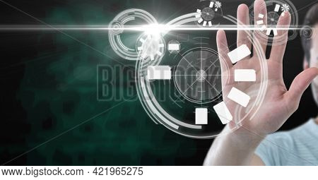 Composition of man touching screen with scopes scanning and digital icons. digital interface, technology and communication concept digitally generated image.