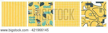 Set Of Abstract Geometric Summer Bright Shape Silhouette Seamless Pattern. Yellow Blue White Vector
