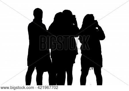 Group Of People Taking Photos Graphic Silhouette