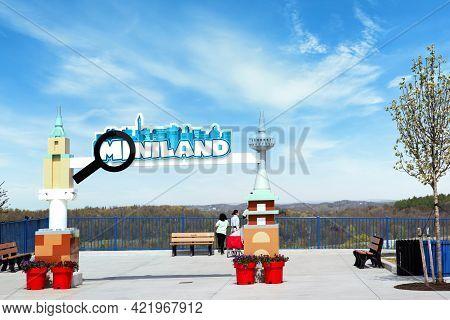 Brooklyn, Ny - April 24 2021: Looking At The Signage Of Miniland In Legoland New York. Amusement Par