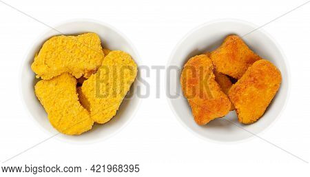 Pre-fried And Deep-fried Vegan Nuggets, In White Bowls. Vegan Nuggets, Based On Soy And Wheat Protei