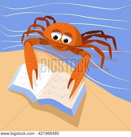 Cartoon Cute Crab Reading A Book. Marine Broadly Built Decapod Crustacean Mascot. Character Of Sea C
