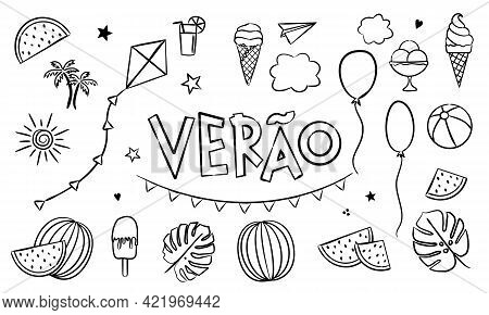 Portuguese Summer Coloring. Doodle Elements For Seasonal Calendar. Hand-drawn Doodle Objects Isolate