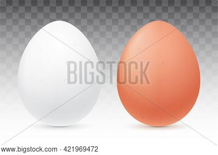White And Brown Eggs Isolated On Background.