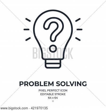 Problem Solving Concept. Bulb With A Question Mark Editable Stroke Outline Icon Isolated On White Ba