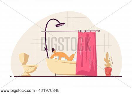 Happy Young Man Taking Bath. Male Cartoon Character Washing Body In Foamy Bathtub With Curtain Flat
