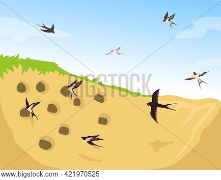 Flock Of Swallows Flying Into Nests. Cartoon Vector Illustration. Birds Flying To Their Homes, Made
