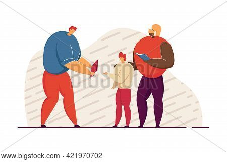 Parents Helping Child With Homework. Mother And Father Holding Books Flat Vector Illustration. Famil