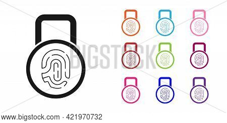 Black Fingerprint With Lock Icon Isolated On White Background. Id App Icon. Identification Sign. Tou