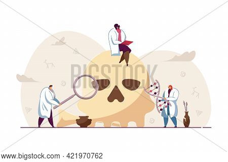 Tiny People Studying Prehistoric Fossils And Dna. Woman Sitting On Neanderthal Skull Flat Vector Ill