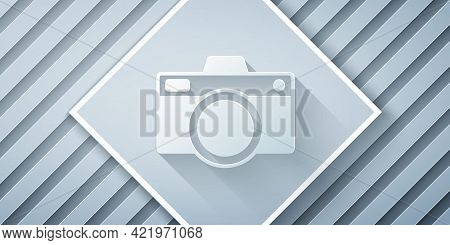 Paper Cut Photo Camera Icon Isolated On Grey Background. Foto Camera Icon. Paper Art Style. Vector