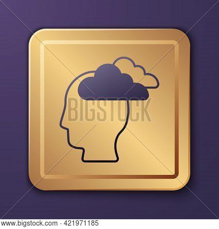 Purple Man Having Headache, Migraine Icon Isolated On Purple Background. Gold Square Button. Vector