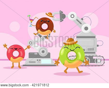 Happy Colorful Glazed Doughnuts In Production. Cartoon Vector Illustration. Mechanized Robot In Fact