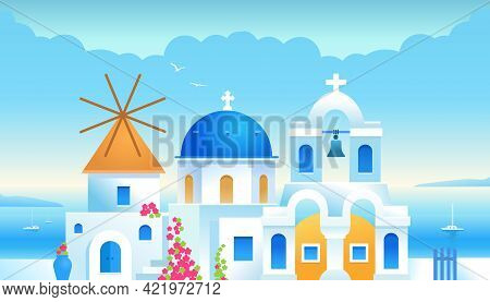 Santorini. Greece. Buildings Of Greek Architecture With The Aegean Sea. Traditional Greek White Hous