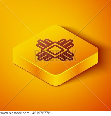 Isometric Line Computer Processor With Microcircuits Cpu Icon Isolated On Orange Background. Chip Or