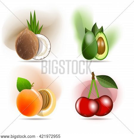 Set Of Delicious Fruits, Coconut, Avocado, Apricot And Sweet Cherry.