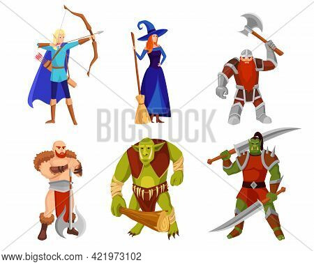 Cartoon Monsters And Warriors Vector Illustrations Set. Elf With Bow, Heroes And Orcs With Weapons,