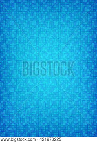 Water On Swimming Pool Floor With Tiles. Pool Background For Summer Poster