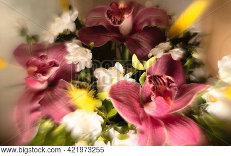 Unfocused Blurred Background With Flower Bouquet. Summer, Spring, Holiday Background. Greeting Card