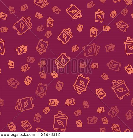 Brown Line Recycle Bin With Recycle Symbol Icon Isolated Seamless Pattern On Red Background. Trash C