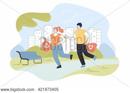 Man And Woman Running With Bags In Park. Cartoon Characters Picking Up Garbage Flat Vector Illustrat