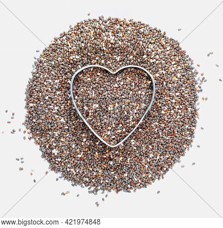 Heap Of Chia Seeds With A Heart. Love For Chia. Isolated On White Background. Macro Close-up. With C