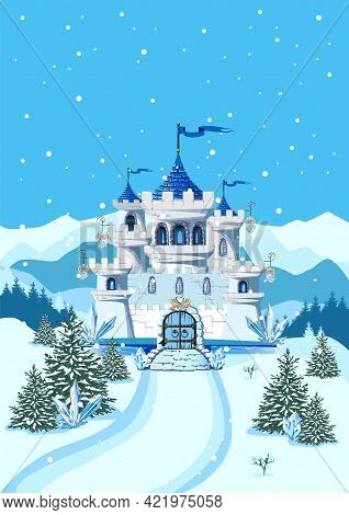 Fairy Tale Blue Castle For A Beautiful Princess And Prince With Towers And Blue Crystals. Vector Ill