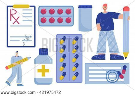 The Rx Form. Set Of Medical Items, Pills, And Doctors Is Isolated On White Background. A Prescriptio