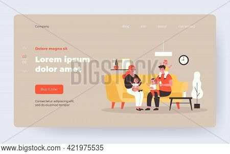 Happy Family With Three Kids On Sofa. Sibling, Triplets, Mom Flat Vector Illustration. Parenthood An
