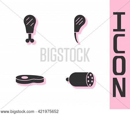 Set Salami Sausage, Chicken Leg, Steak Meat And Rib Eye Steak Icon. Vector
