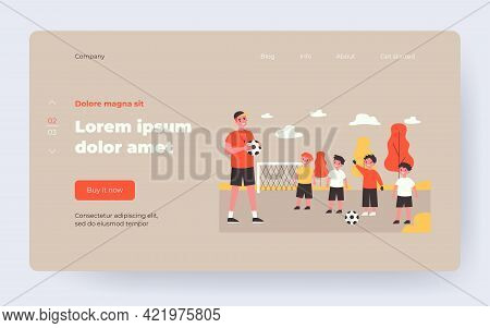 Cartoon Coach Training And Teaching Kids Playing Football. Flat Vector Illustration. Little Smiling