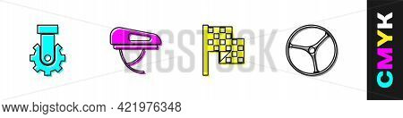 Set Derailleur Bicycle Rear, Bicycle Helmet, Checkered Flag And Wheel Icon. Vector